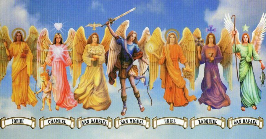 Loa Arcángeles y sus equivalencias (Arcángel Gabriel, Arcángel Rafael, Arcángel Uriel y Arcángel Zadkiel)